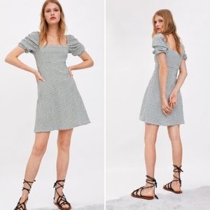 zara plaid mini square neck dress